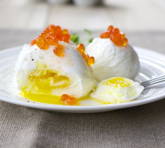 Poached Eggs with Salmon Roe: