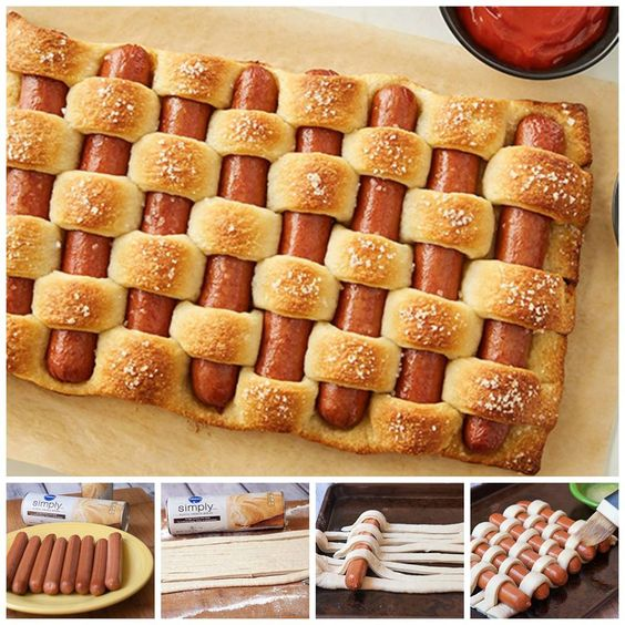 Wow, how cool is this? Pretzel Woven Hot Dogs - would be so fun to serve at your Memorial Day picnic. http://www.tablespoon.com/recipes/pretzel-woven-hot-dogs/f2dc00ad-a2b3-4b5e-8f58-00a557772ce4/:
