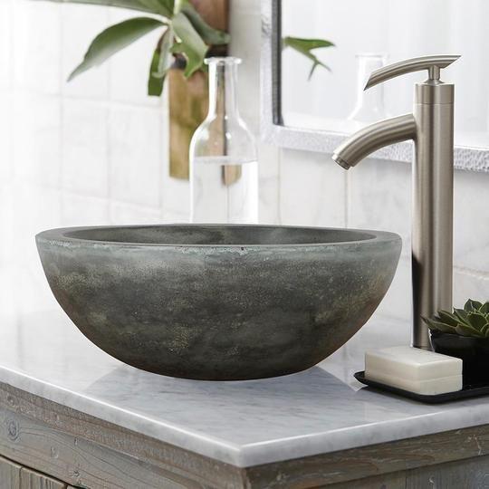 Small Sardis Round Cast Concrete Vessel Sink Natural Magnus