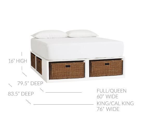 Stratton Storage Platform Bed With Baskets Pottery Barn Bed
