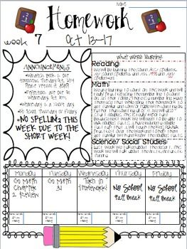 I use this template as the cover sheet for my weekly homework. Some people choose to simply use it as a newsletter of sorts. It is fully editable, so fill in the information that pertains to your classroom.