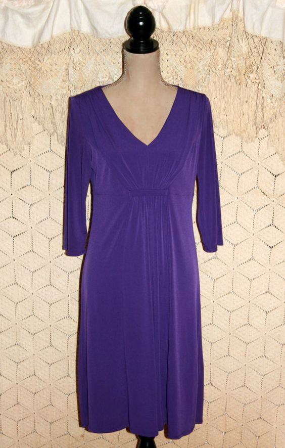 Eggplant Purple Dress Spring Dress 3/4 Sleeve by MagpieandOtis