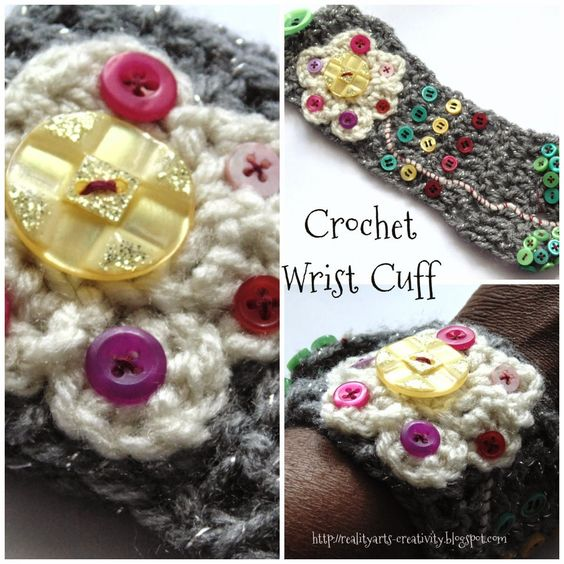 http://goo.gl/Ie8e1Y Buttons from #fantasticribbons used to decorate crochet wrist cuff