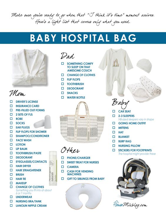 What to pack in your baby hospital bag - printable checklist