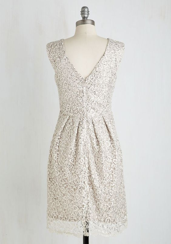 Fun One Like You Dress in Silver. Pair the delicate lace and dazzling sequins of this silver dress by Decode 1.8 with your best dance moves! #silver #prom #wedding #bridesmaid #modcloth