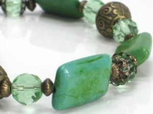 SALE Green Necklace Chalk Turquoise Chunky Choker by CCARIA