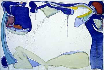 SAM FRANCIS, Mantis, 1961–62, acrylic & oil on canvas, 51 1/16 × 76 inches (129.7 × 193 cm)