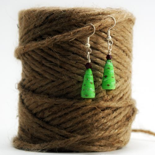 Paper Christmas Tree Earrings