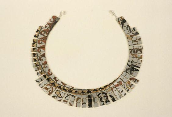 "Suzan Rezac. ""Opus Tesselatum"". Necklace. Silver, shakudo, copper, shibuichi, bronze, 18K gold, brass."