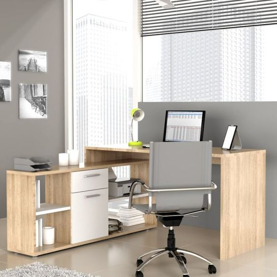 Bureaus angles and d on pinterest for Bureau d angle blanc ikea