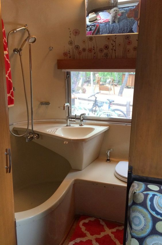 1965 Airstream Safari bathroom renovation