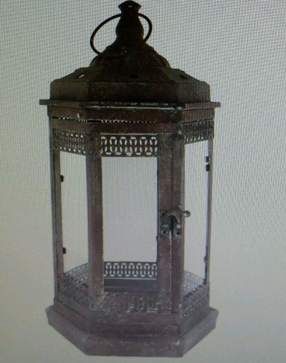 "Antique Rustic Metal Lanterns with Handle 16"" H x 8"" W Home Decor Man Cave Woman"