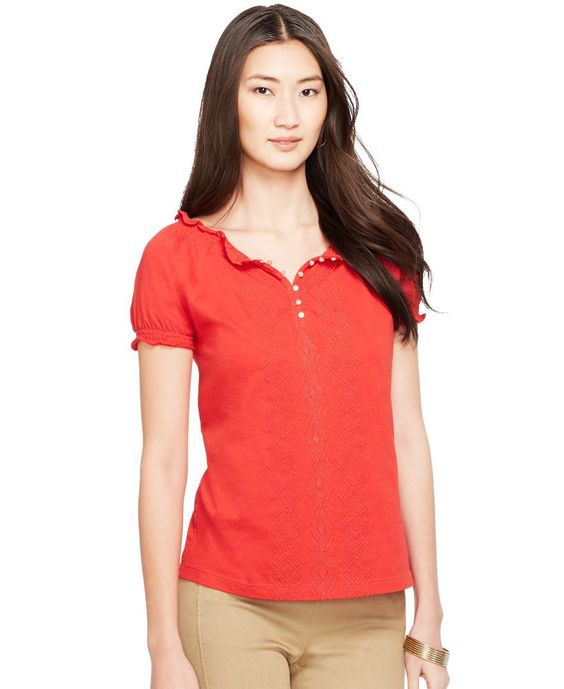 Lauren Ralph Lauren Embroidered Smocked Top