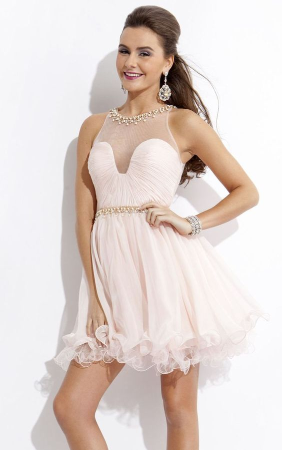 Backless Short/Mini TulleSleeveless A-line Short Prom Dress with Pearl Beading: