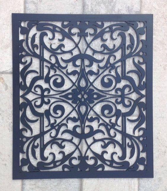 Quadro arabescos - mdf 3 mm - cortado a laser - pintura artesanal