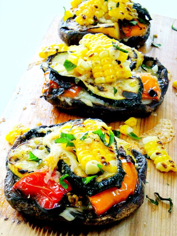 Grilled Portobellos Stuffed with Summer Vegetables...