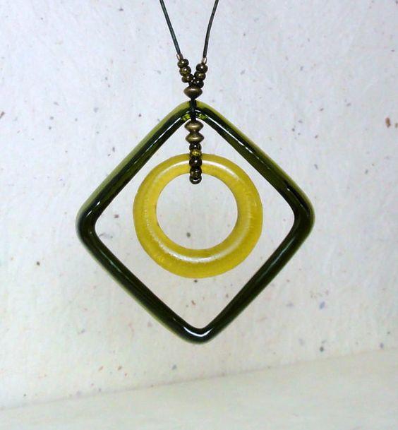 Glass Pendant Necklace - Wine Bottle Hoop Necklace