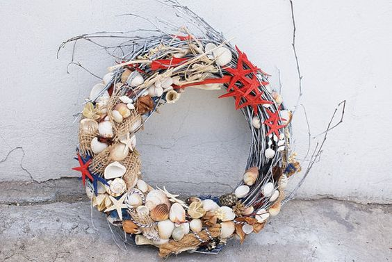 seashell wreath, nautical wreath, nautical decoration, home decor, sea decor…