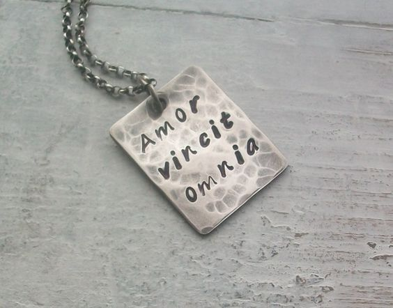 10% OFF UNTIL 30/11/12 ~ just email me celticshore@hotmail.co.uk to recieve discount  Personalised Oxidised Sterling Silver Quote - Name Necklace - Unisex (905) £28.00