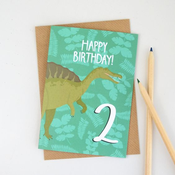New to HannahStevensShop on Etsy: Age Two Birthday Card Dinosaur Age Card Childrens Birthday Card Cards for Kids Cards for Boys Dinosaur Illustration (2.50 GBP)