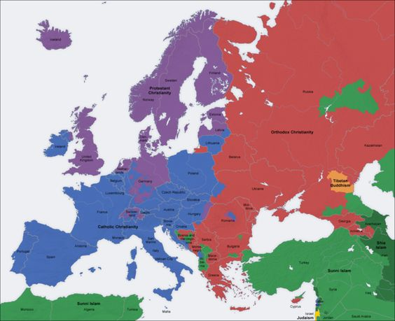 Map of European Religions.  Here the major religions throughout Europe are displayed.