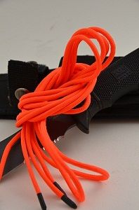 """Blazer Orange Paralace [world's toughest bootlace] These are the world's toughest bootlaces / shoelaces. What do we mean, """"Toughness"""" ? When we say toughest bootlace, we mean the toughest! Our workshop has researched this, and we're not playing around. We've field tested it, burned it, beat it, frozen it; all in all abused the Hell out of it - and it still came out of the torture chamber with flying colors . If you wanted to outfit your boots or shoes with the best laces on the market"""