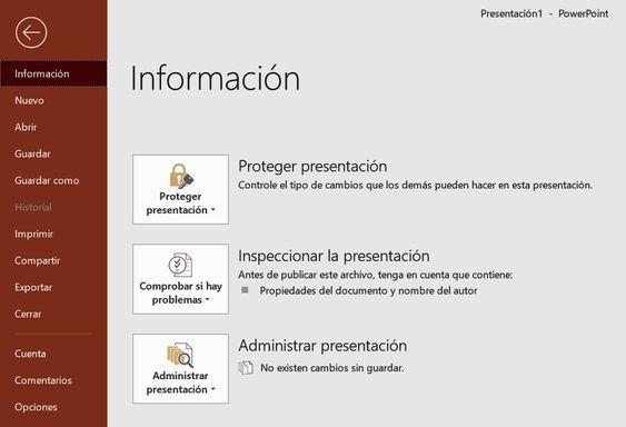 La ficha Archivo de Powerpoint
