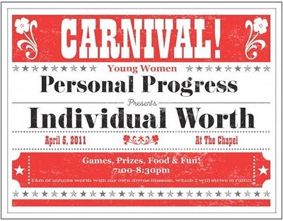Jeanius Ideas for YW: Disability Carnival - Individual Worth Activity! Love it!
