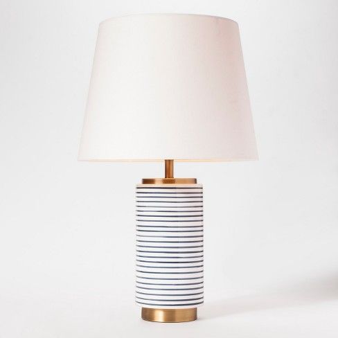 Ceramic Stripe Lamp Blue White Threshold Target Basement