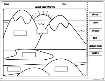 Worksheets Landforms And Bodies Of Water Worksheets land and water activity pack activities click preview page