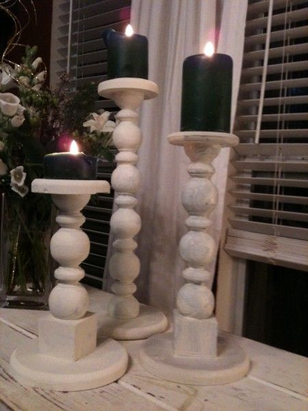 Diy Wooden Candle Holders From Poles Crafts Pinterest