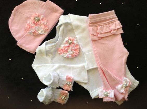 NEWBORN baby girl outfit complete with pink by BeBeBlingBoutique