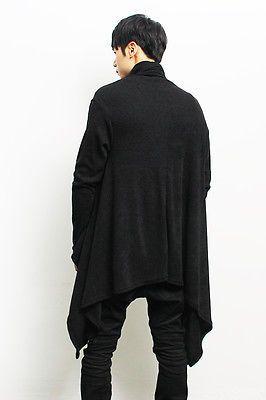 Vanguardista Mens Fashion Draping Shawl malha longo casaco de lã, GENTLERSHOP