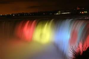 Niagara Falls at night.  A beautiful place to see.