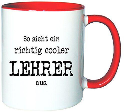 Mister Merchandise Kaffeetasse Becher So sieht ein richtig Cooler Lehrer aus. , Farbe: Weiß-Rot - http://geschirrkaufen.online/mister-merchandise/weiss-rot-mister-merchandise-kaffeetasse-becher-10