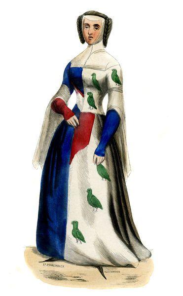 """Woman 's costume 14th century"" Costume 14 ème"