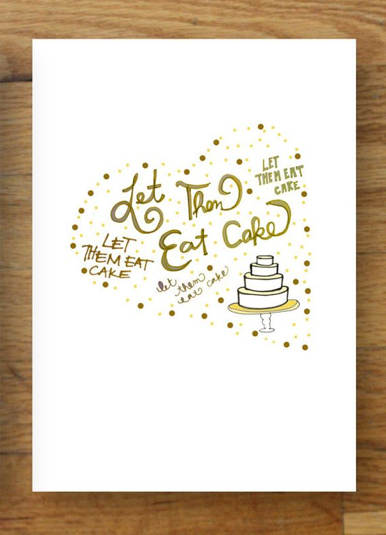 let them eat cake illustrated wedding invitations