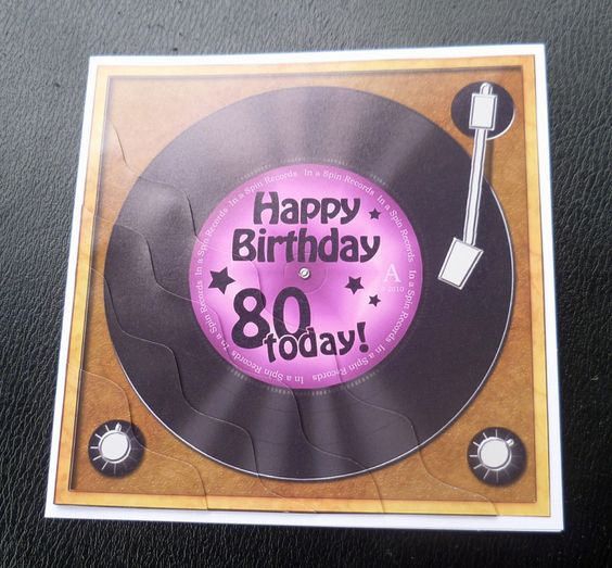 Details About 80th Record Player Birthday Card
