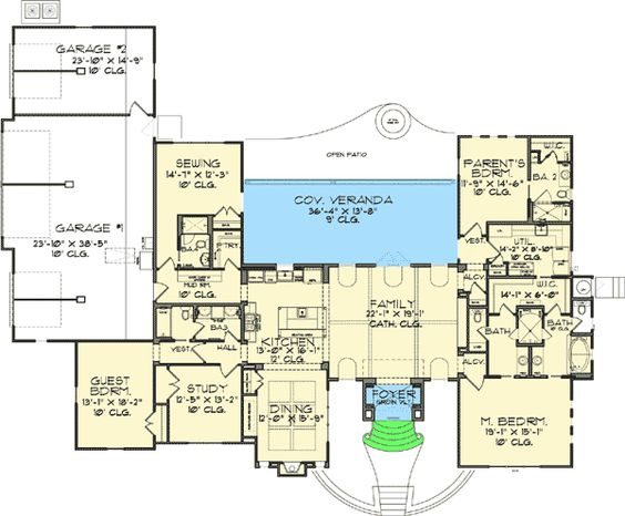Plan 46022hc craftsman home with master sitting room for Sewing room layout