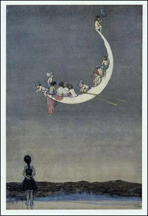 guardare la luna: Art Illustrations, Heath Robinson, Beautiful Moon, William Heath, Moon Stars, Robinson 1916, Sun Moon Star, Fairytale, The Moon