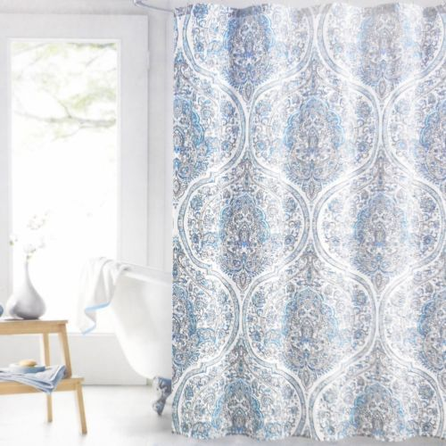 Details About Envogue Moroccan Floral Fabric Shower Curtain White