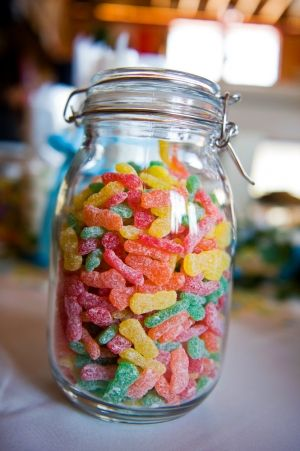 Mason jars filled with sour patch kids!