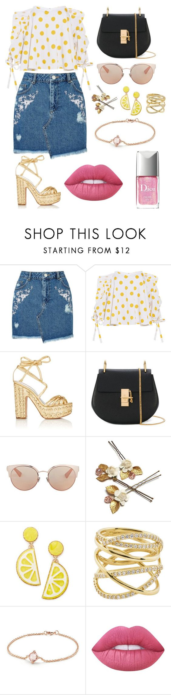 """Untitled #7"" by soninha97 on Polyvore featuring Miss Selfridge, Caroline Constas, Alchimia Di Ballin, Chloé, Christian Dior, Celebrate Shop, Lana, David Yurman and Lime Crime"
