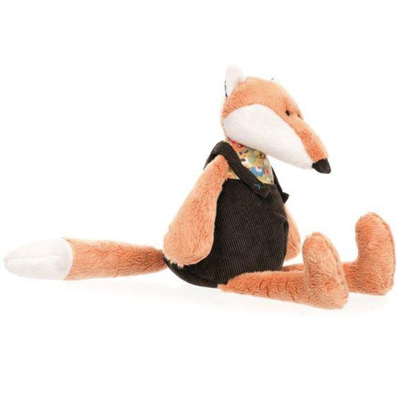 """""""Léonard le renard"""" est une adorable peluche musicale douce et tendre qui bercera votre petit. La ficelle du mécanisme musical est située dans son dos. Il est habillé d'une jolie salopette en velours et d'une blouse imprimée. A assortir avec les petits sac à dos et les chaussons.  Hauteur : 19 cm. 29,90 € http://www.lafolleadresse.com/peluches-et-doudous/1618-leonard-le-renard-musical.html"""
