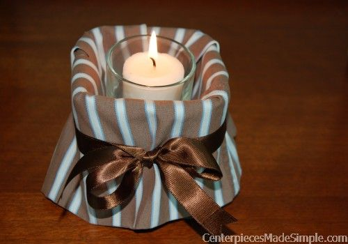 A mans shirt candle holder or candy dish creates masculine
