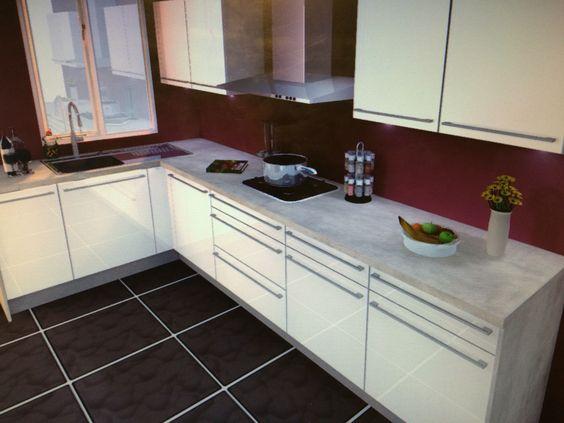 cuisine moderne blanc brillant avec plan de travail gris b ton nobilia iris sarah. Black Bedroom Furniture Sets. Home Design Ideas