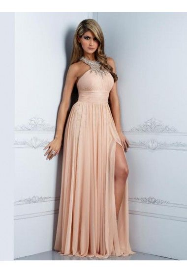 A-line Halter Sleeveless Chiffon Pearl Pink Prom Dress With ...
