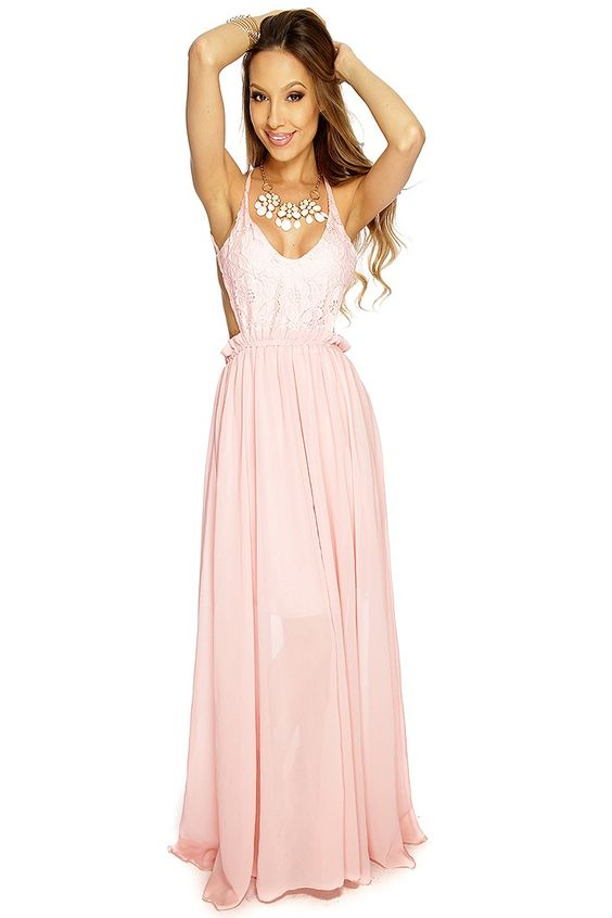 Be the talk of the party in this sexy maxi dress! Youll sure impact at your next event! Make a fashion statement in this look and youll be center of attention! It features floral crochet, scoop neck, cross cut out back, sheer overlay, elastic waistband, and fitted. 100% polyester.