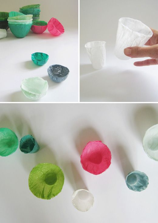 Recycling plastic bags into cups and bowls.