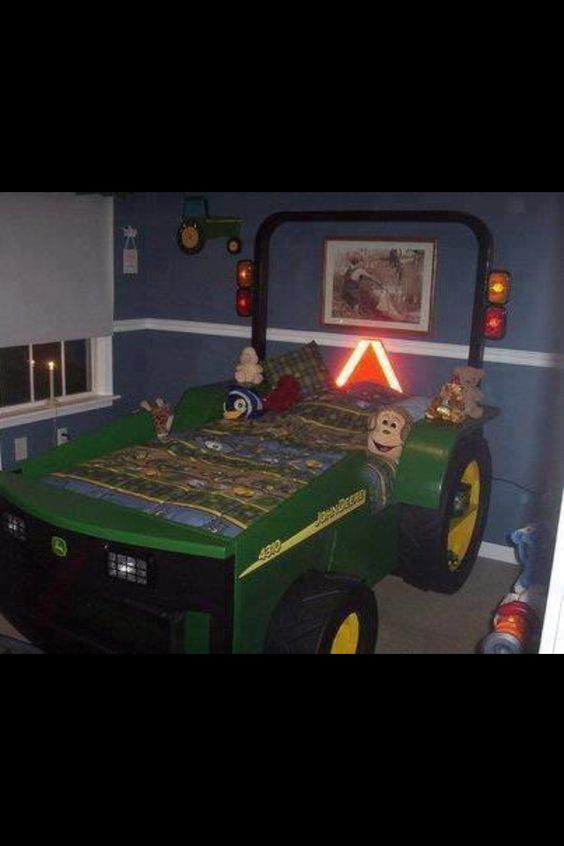 John deere bed how cute is this john deere for Lit tracteur